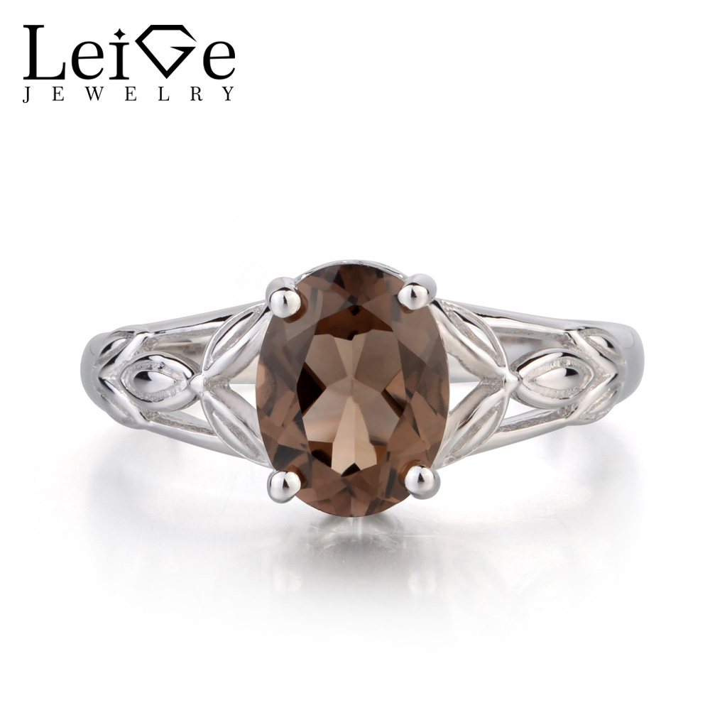 Leige Jewelry Solitaire Natural Smoky Quartz Ring Oval Cut Ring Gemstone Anniversary Wedding Ring Solid 925 Sterling Silver RingLeige Jewelry Solitaire Natural Smoky Quartz Ring Oval Cut Ring Gemstone Anniversary Wedding Ring Solid 925 Sterling Silver Ring