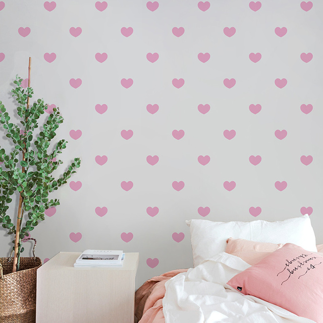 Behang Slaapkamer Blauw.Begroting Hoge Kwaliteit Nordic Roze Hartvormige Behang