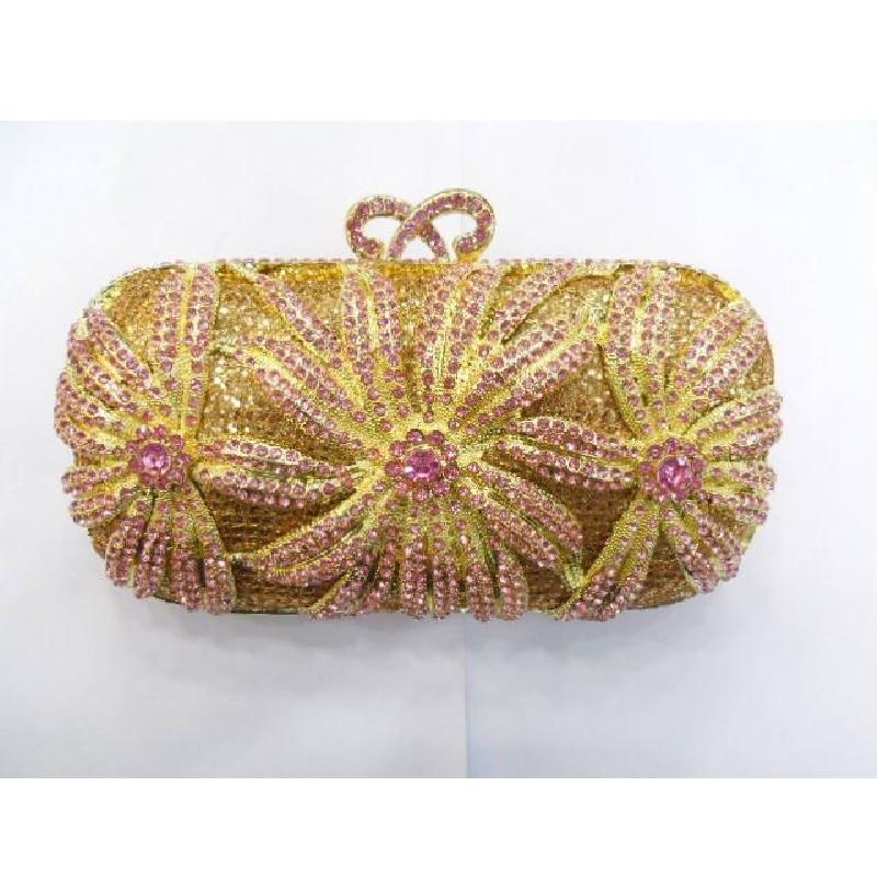 ФОТО 1518 PINK Crystal Flower Floral Lily Bridal Party Gold hollow Metal Evening purse clutch bag case box handbag