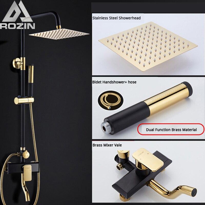 Golden Black Bath Shower Set Faucet In Wall Rainfall Head Bathroom Shower Mixer Swivel Spout Toilet Sprayer Bidet Shattaf Head
