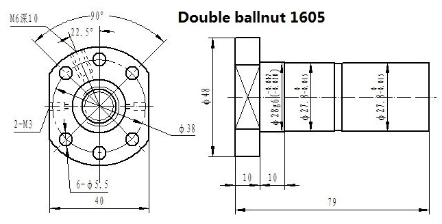 Ball screws DOUBLE BALLNUTS  CNC 20mm HIWIN Linear guide rail carriages