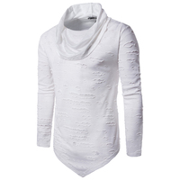 2018 Men's Hipster Hip Hop Long Sleeve Holes T Shirts Turtleneck Ripped Extended Tees Fashion Solid Urban Clothing