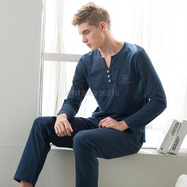 Moda masculina longo-manga comprida de algodão pijamas ternos de lazer Pijama v-pescoço hedging