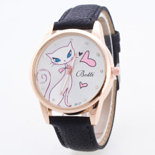 Fashion Cute White Cat Lady PU Leather Quartz Gift Wrist Watch Wristwatches Clock for Women Girls Young OP001