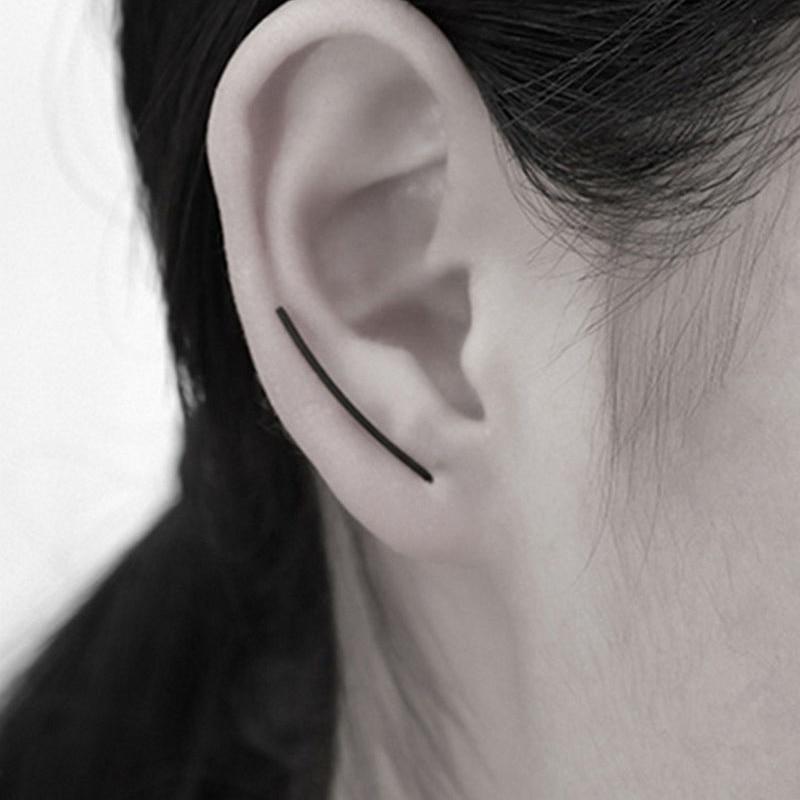 St.kunkka Geometric Brincos Earrings For Men Women Simple Gold Silver Black U Shape Ear Stud Earrings Classic Earring Jewelry