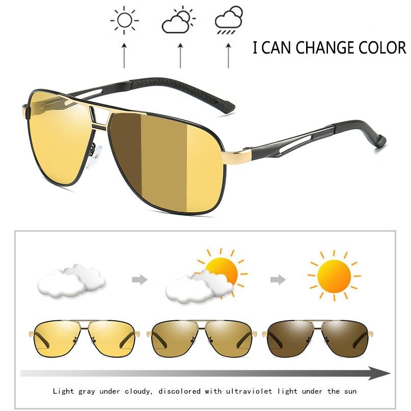 Driving Sunglasses Goggles Night-Dual-Use Polarized Intelligent-Photochromic Day Al-Mg