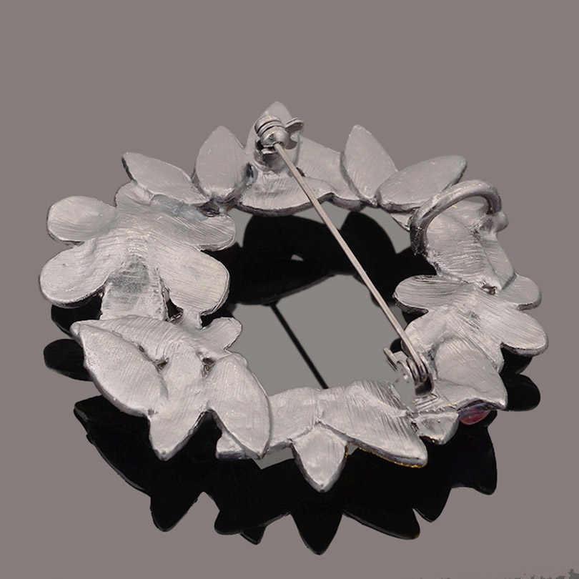 Iyoe Antik Berlapis Logam Bunga Bros Liontin dengan Batu Alam Disimulasikan Bros Mutiara Pin Wanita Vintage Perhiasan