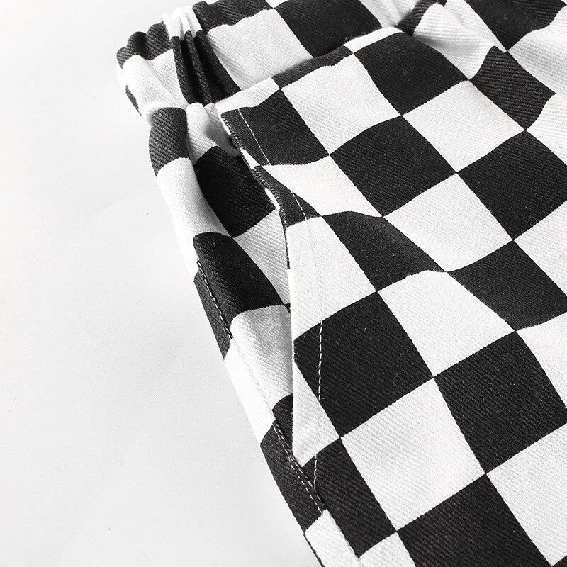 de cintura alta xadrez calças retas casuais