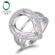 11x15mm Pear shape 18K white gold Natural 0.50ct Diamond Engagement Ring Jewelry Semi Mount Setting Ring