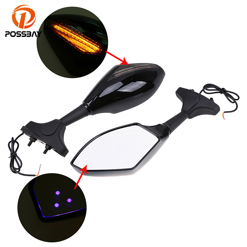 Integrated LED Turn Signals Indicator Rearview Mirror For Street Bike Scooters