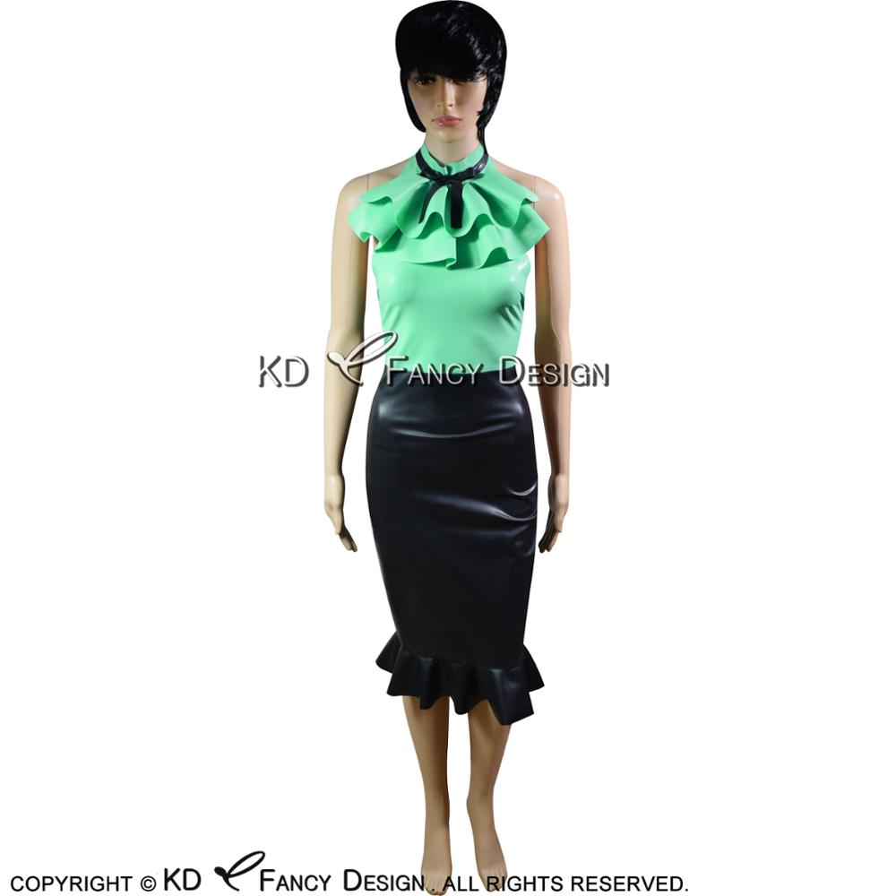 Jade green With Black Sexy Latex Jackets With Frills On Top And Bows Rubber Dress Bodycon Playsuit LYQ 0031