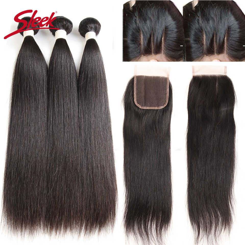 Sleek Peruvian Straight Human Hair Bundles With Closure Natural Remy Human Hair 3 Bundles With 4X4 Lace Closure Free Shipping