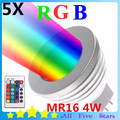 5 unids/lote 4 W MR16 RGB Bombilla de Colores RGB LED Bombilla RGB LLEVÓ el Proyector DC12V con 24Key IR Remote Controller Envío gratis