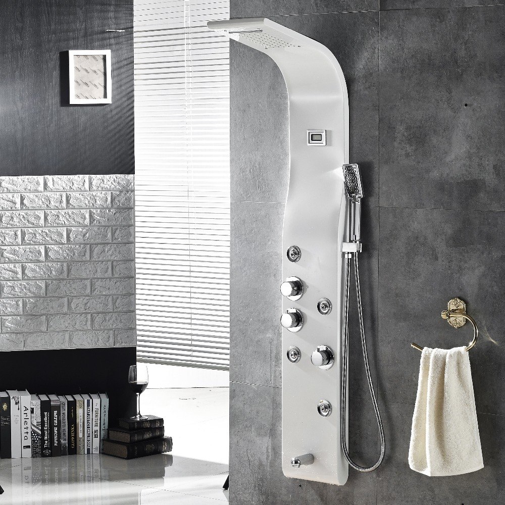 Brushed Nickle Wall Mounted Shower Panel  5-Function Waterfall Rainfall Massage Jets tub spout Shower set With Shower handle chic rhinestone resin geometric hollow out necklace for women