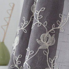 Flowers Embroidered Grey Tulle Curtain In Bedroom Living Room Window Sheer Curtain 2 Colors Custom Made