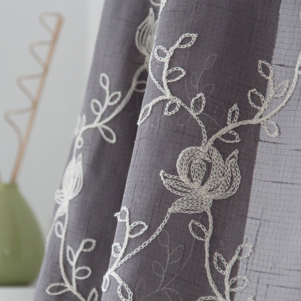 Flowers Embroidered Grey Tulle font b Curtain b font In Bedroom Living Room Window Sheer font