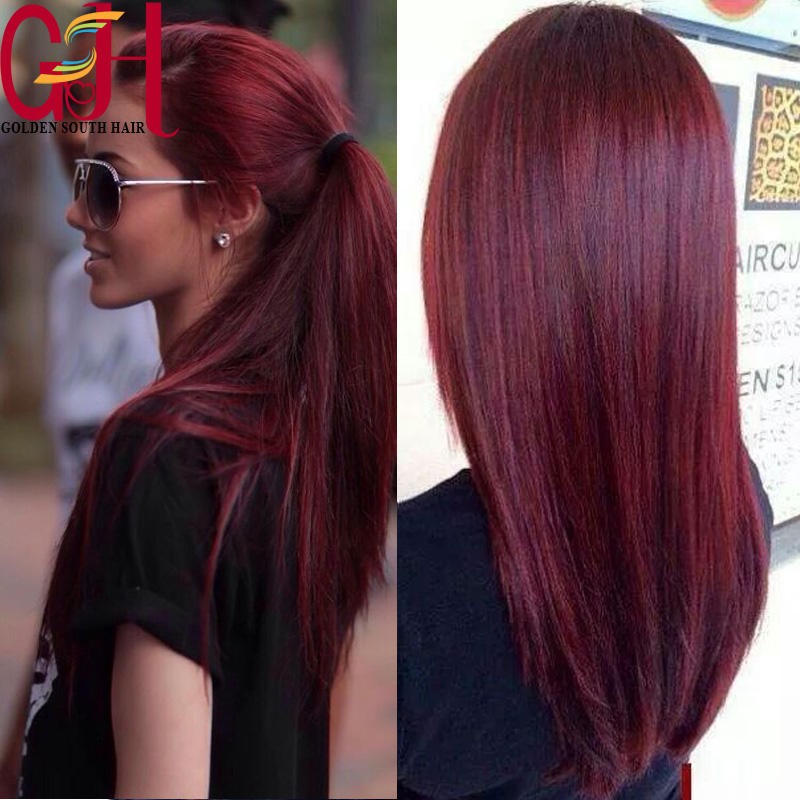 Affordable Silky Straight Red Full Lace Human Hair Wigs