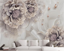 Beibehang Custom Wallpaper Embossed Flower Atmosphere Peony Stereo Living Room Bedroom TV Background Wall 3d wallpaper