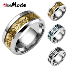 ELSEMODE Punk Biker Personalized Skull Inlay 316L Stainless Steel Rings 8 MM Width For Men Women Gold Silver Blue Drop Shipping(China)