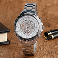 Hot Brand WINNER Turntable Men Mechanical Wristwatch Silver Stainless Steel Band Strap Self-Wind Male Watch + Gift Box