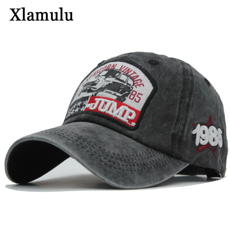 Xlamulu   Baseball     Caps   Hats For Men Casquette Brand Women Snapback   Caps   Washed Bone Men Hat Trucker Gorras Letter Jump Black   Cap