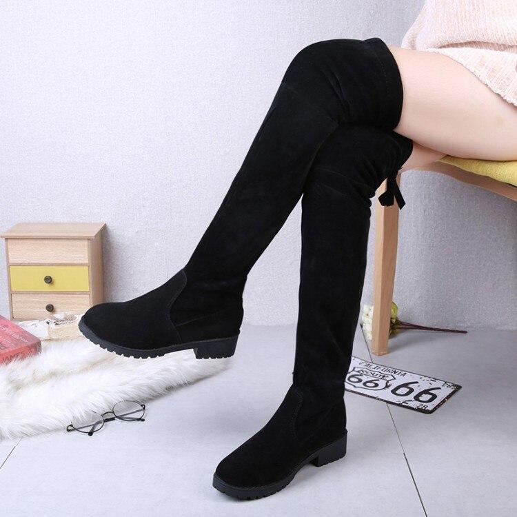 a91b8557c9b Botas Mujer Nieve Zapatos La Por Plataforma Sobre Rodilla Tallas Grandes  Niñas Negro De Altas Encima ...