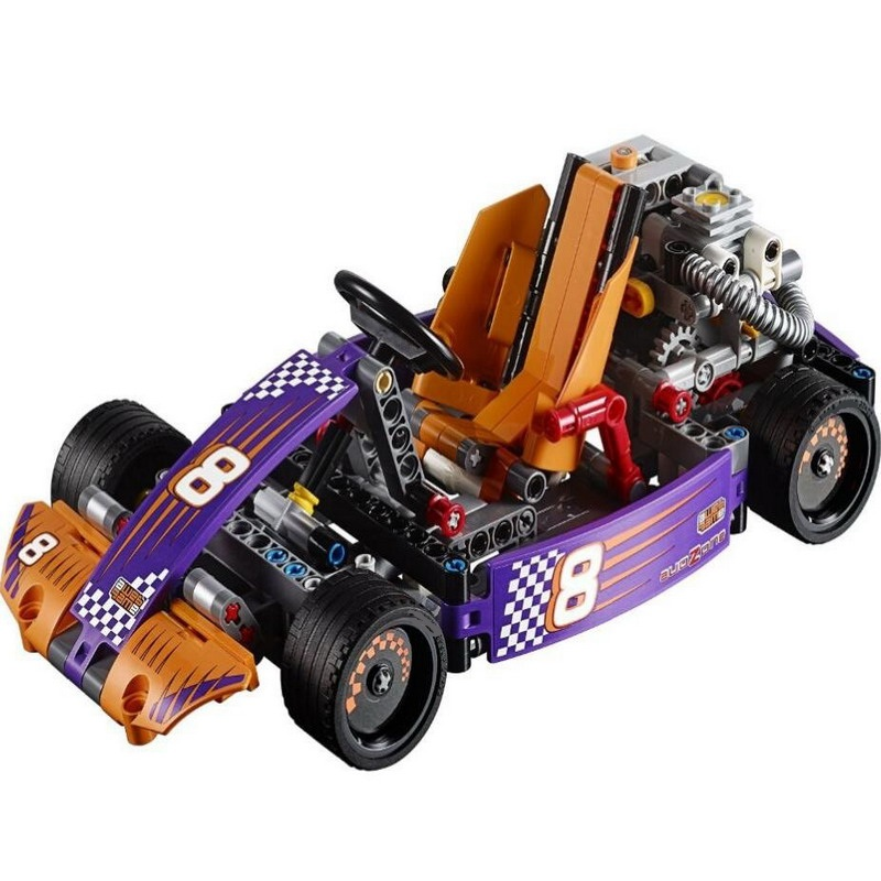 38003 LELE Technic City Series 2-in-1 Race Kart Car Model Building Blocks Enlighten Figure Toys For Children Compatible Legoe 3345 technic city series mini container truck model building blocks enlighten figure toys for children compatible 8065