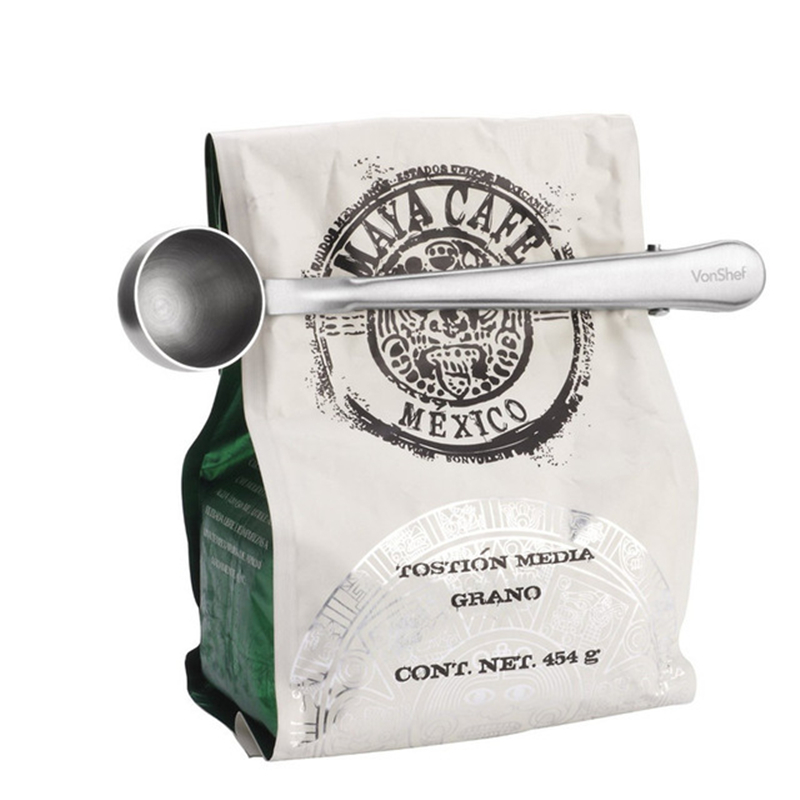 Brand New Durable Stainless Steel Tea Coffee Measuring Spoon With Portable Bag Clip Party Gifts