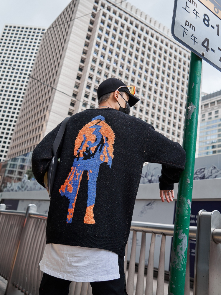 Sweater Men Clothing Neck-Hipster Streetwear Fashion Crew Jacquard Dark-Icon