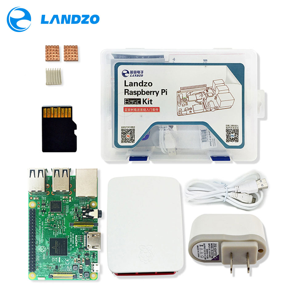 Image 1 - raspberry pi kit   Raspberry Pi 3 Board + 5V 2.5A US Power Supply + Case + Heat Sink For Raspberry Pi 3 Model B wifi & bluetooth-in Integrated Circuits from Electronic Components & Supplies