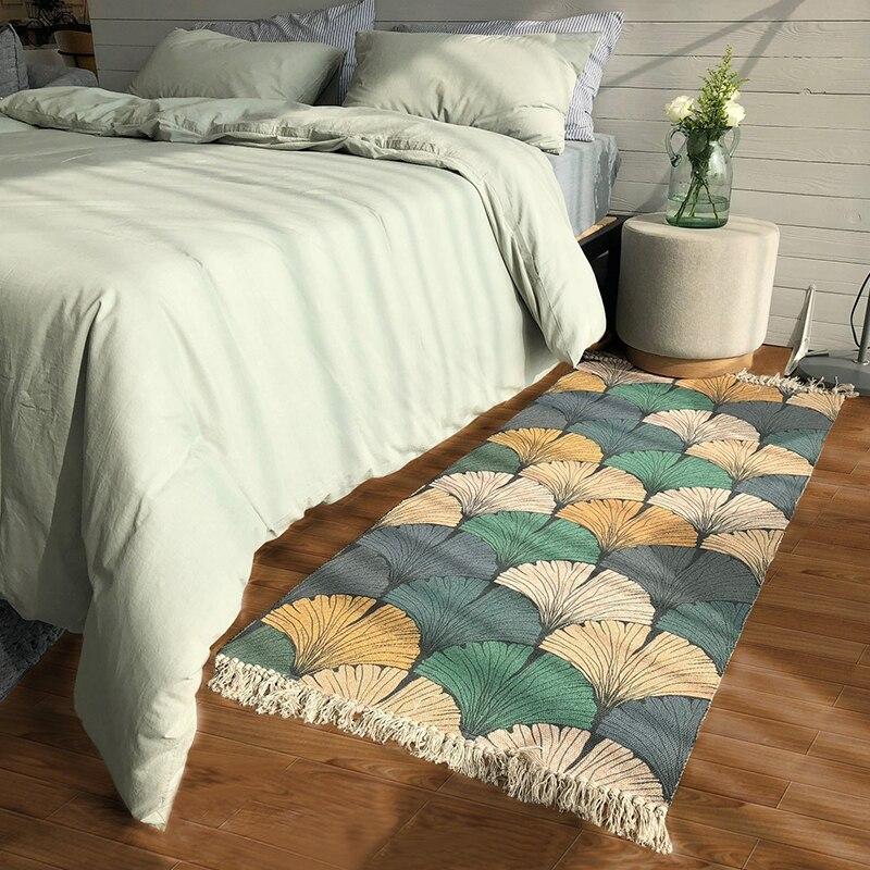 Tapis tissé nordique 70*160 cm devant le lit tapis de sol rectangulaire avec tapis de chevet Tatami lavable en Machine