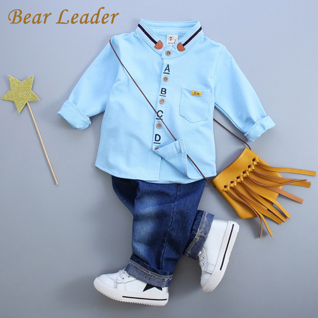 Bear Leader Baby Boy Clothes 2016 Autumn Baby Clothing Sets Long Sleeve Solid Shirt+Jeans 2Pcs Baby Suits Children Clothing Sets