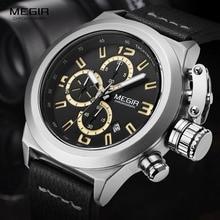 Megir Fashion Pria Chronograph Luminous Tangan Tanggal Kalender Hitam Kulit Kasual Militer Kuarsa Jam 2029