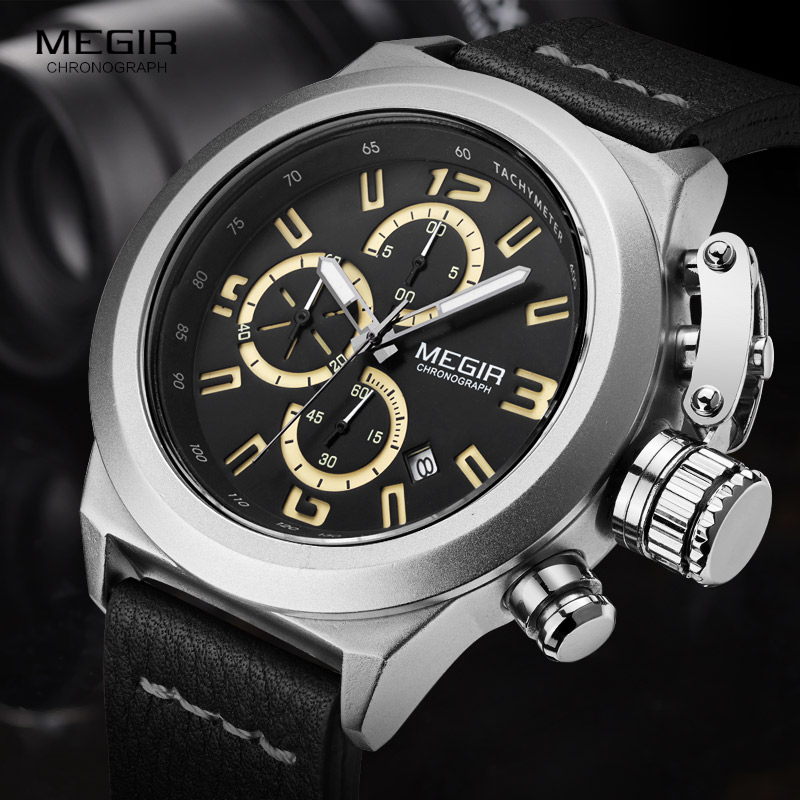 Megir Mens Mote Chronograph Luminous Hands Kalender Dato Black Leather Casual Military Quartz Wrist Watches 2029