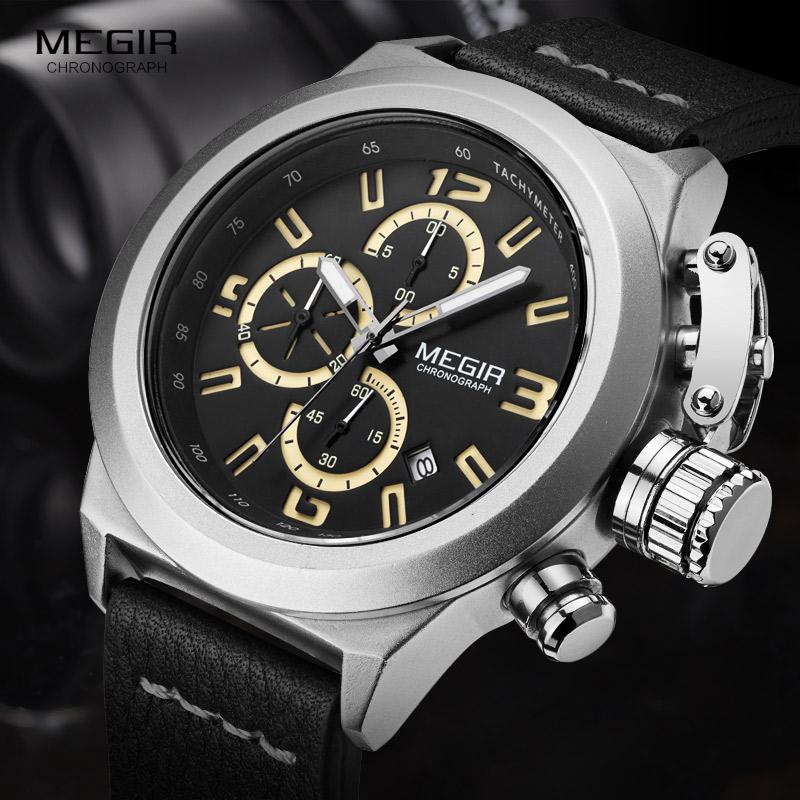 Prix pour Megir Mens Mode Chronographe Lumineux Mains Calendrier Date Noir En Cuir Casual Bracelet À Quartz Militaire Montres 2029