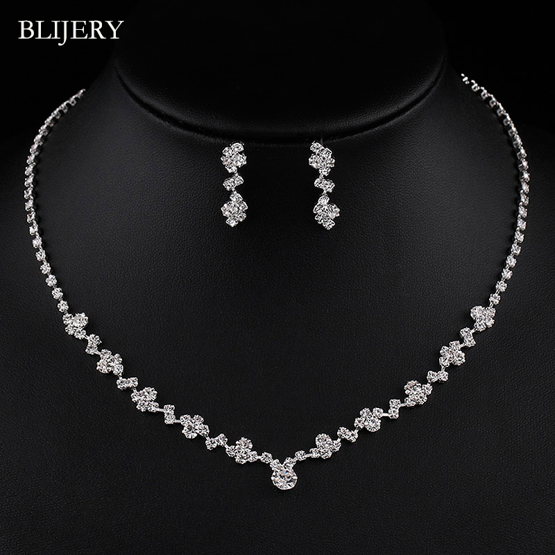 BLIJERY Necklace Earrings Bridal-Jewelry-Sets Crystal Bridesmaid Silver-Plated Choker