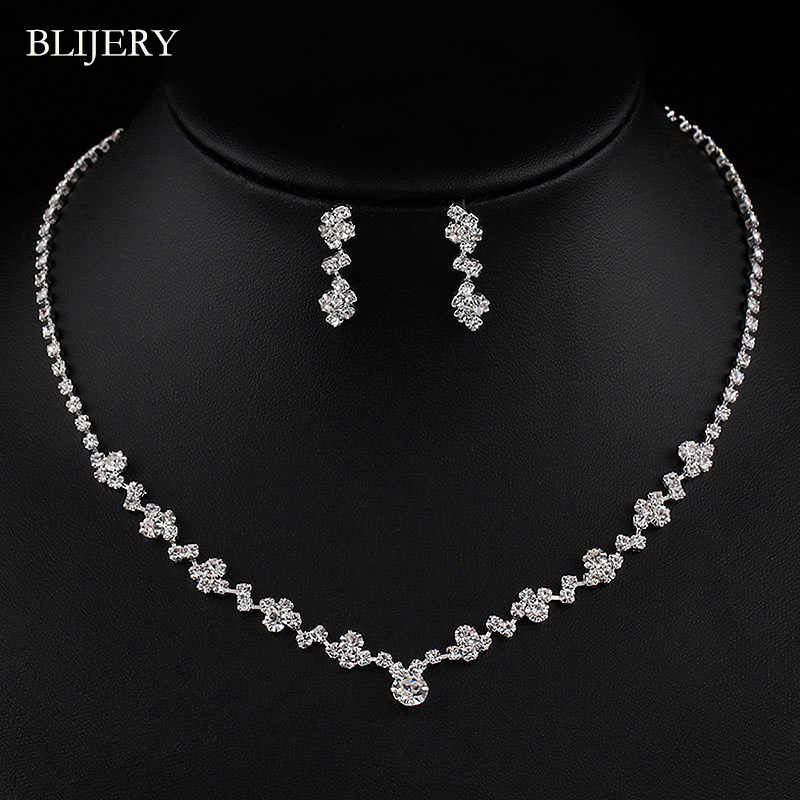 BLIJERY Silver Plated Crystal Bridesmaid Bridal Jewelry Sets Geometric Choker Necklace Earrings for Women Wedding Jewelry Sets