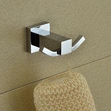 Bagnolux High Quality Bathroom Square Wall Hanger 100% Copper Bathroom Hooks Dual Robe Hangers Towel Hooks Bathroom Accessories