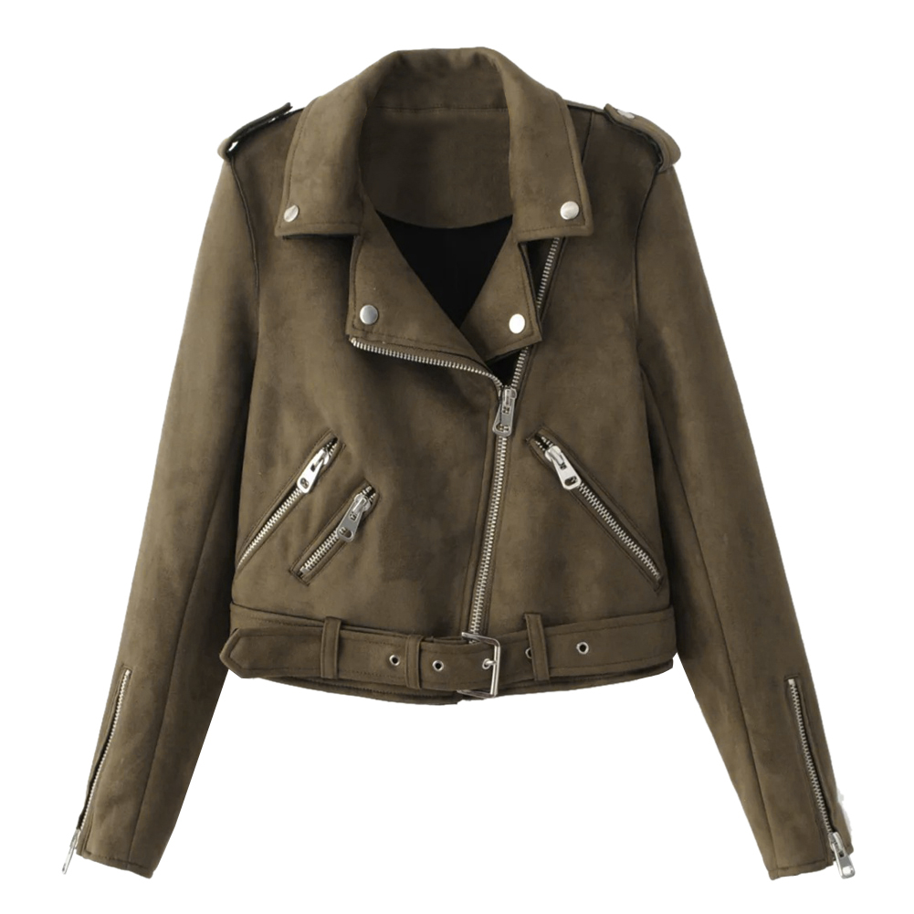 05e8faee2 Women Zipper basic Suede Jacket Coat Casual Long Sleeve motorcycle ...