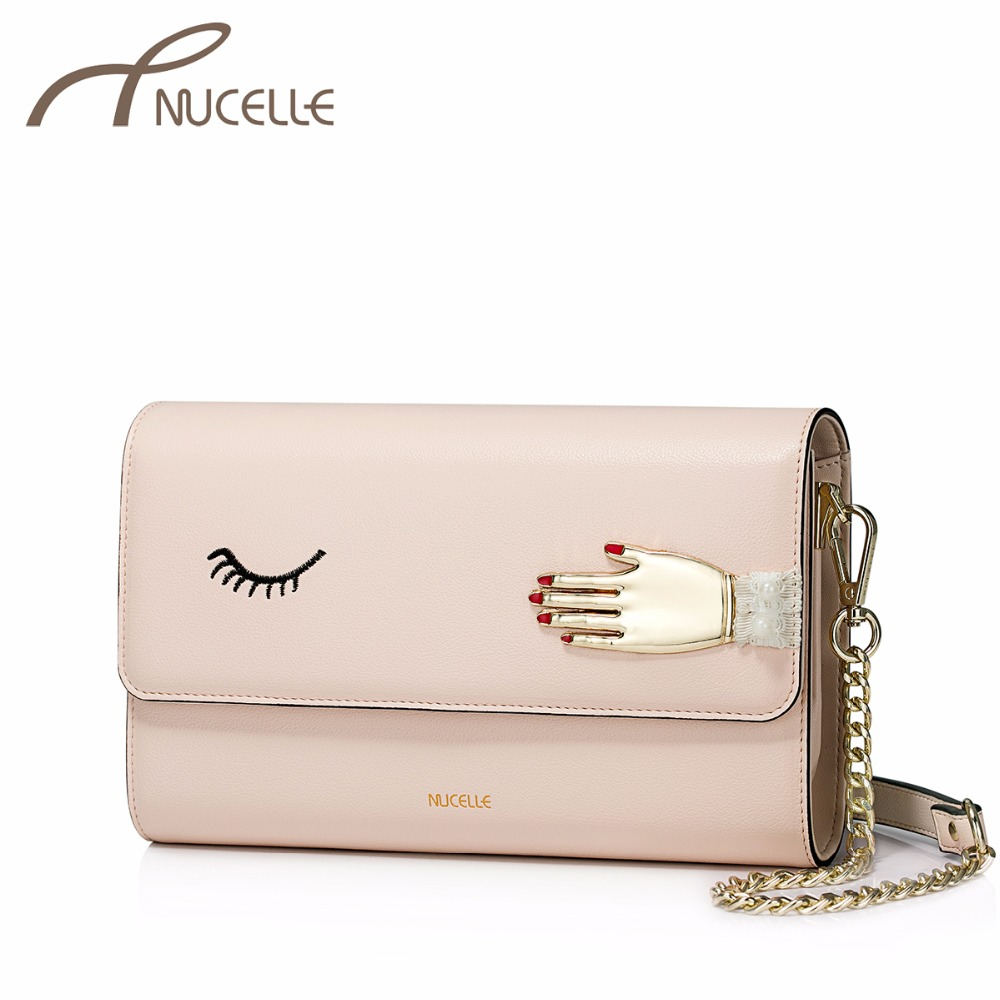 NUCELLE Ladies Fashion Embroidery Eye Chains Clutch Female Flap Phone Crossbody Purse NZ4538 Women's PU Leather Shoulder Bags nucelle women split leather messenger bags ladies fashion chain mini cross body bags female flap shoulder bags for phone nz5902