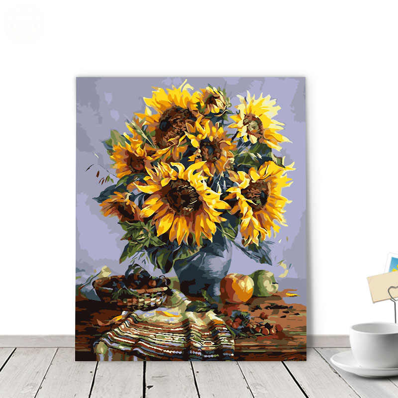 painting by numbers art paint by number Van Gogh Sunflower Continental Fill Color Colored Canvas Highlight Paint Smearing Area H