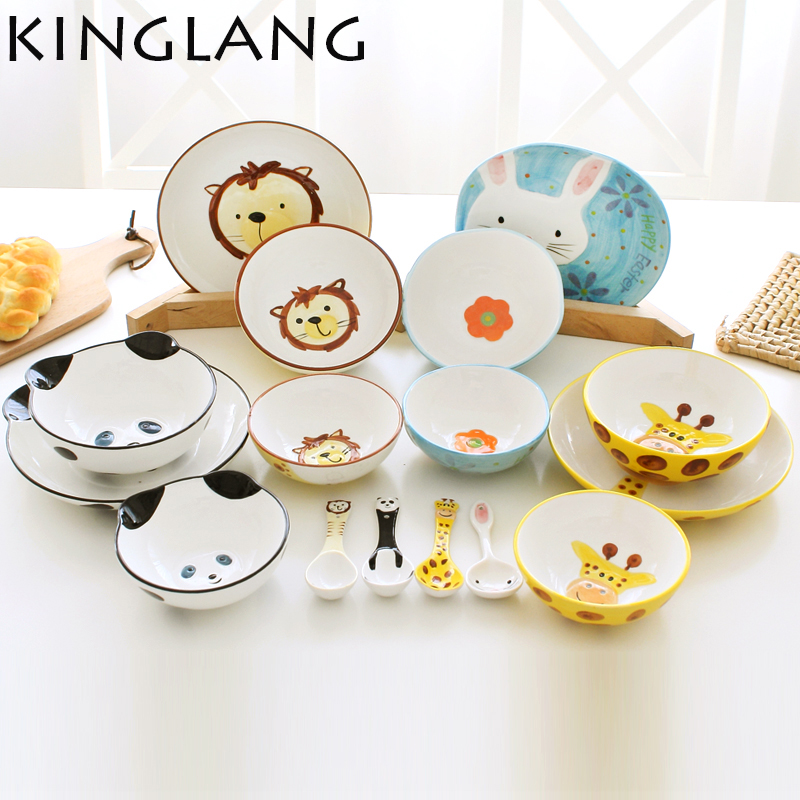 4pcs/set ceramic cartoon cute Animal rabbit rice dessert bowl salad plate japanese style spoon dinnerware set