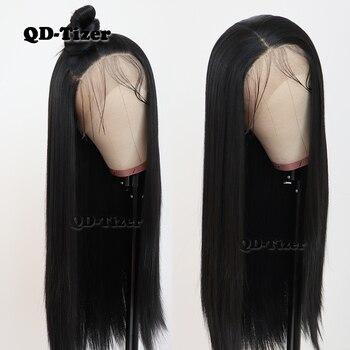 QD-تايزر أسود اللون طويل مستقيم الشعر الدانتيل شعر مستعار أمامي Gluless مقاومة للحرارة الاصطناعية الدانتيل شعر مستعار أمامي للنساء السود