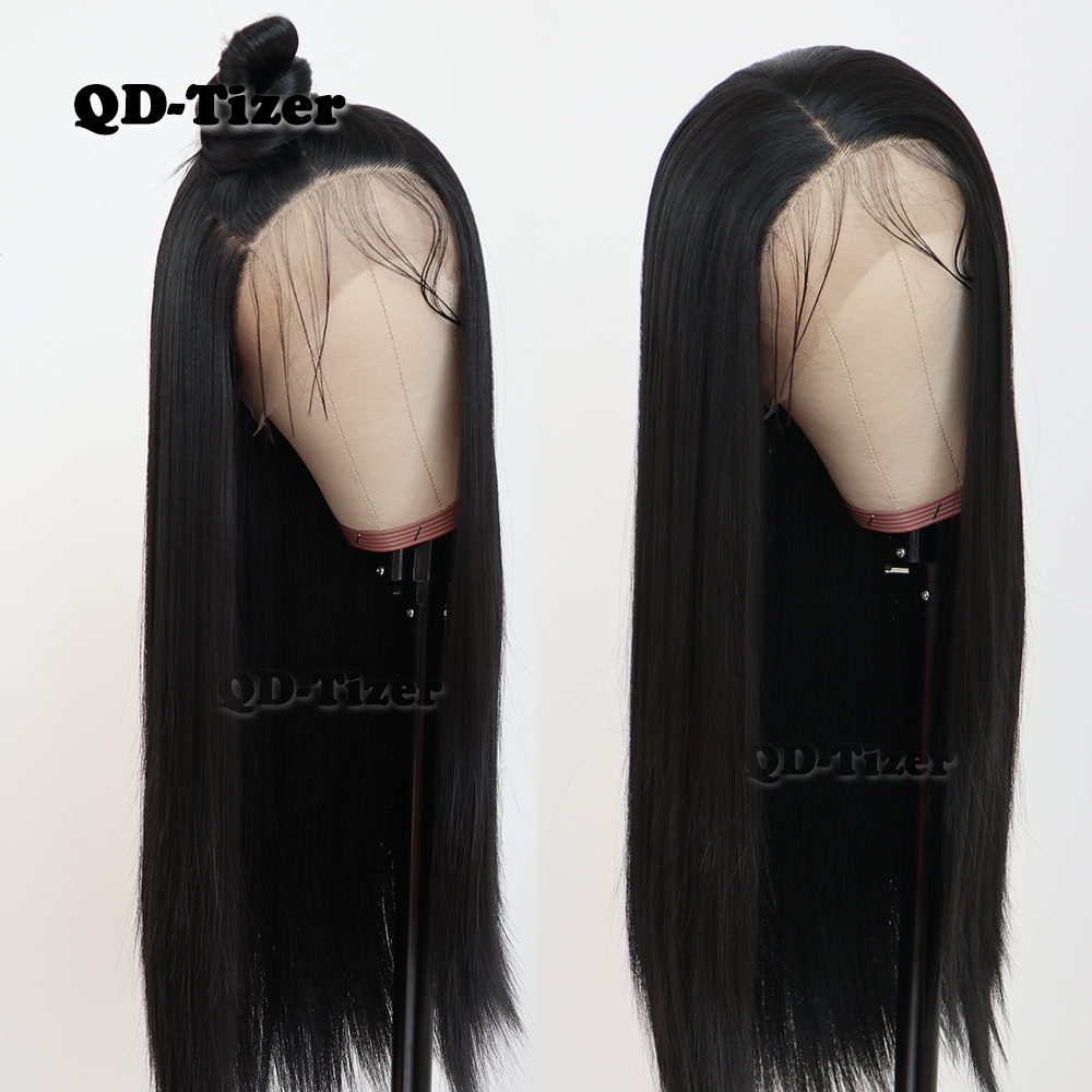 Qd-Tizer Wig Straight Hair Heat-Resistant Lace-Front Gluless Black-Color Long Synthetic title=