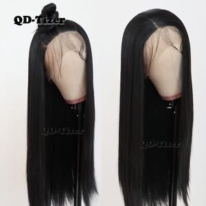 Qd-Tizer Wig Hair Silky Heat-Resistant Lace-Front Gluless Black-Color Straight Long Synthetic