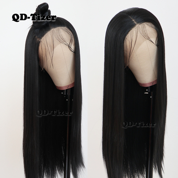 QD-Tizer Black Color Long Silky Straight Hair Lace Front Wig Gluless Heat Resistant Synthetic Lace Front Wig for Black Women
