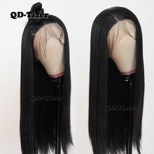 QD تايزر أسود اللون طويل مستقيم الشعر الدانتيل شعر مستعار أمامي Gluless مقاومة للحرارة الاصطناعية الدانتيل شعر مستعار أمامي للنساء السود