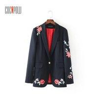2017 Women Embroidery Blazer Feminino Long Sleeve Notched Blazer Women European Style Single Button Office Lady