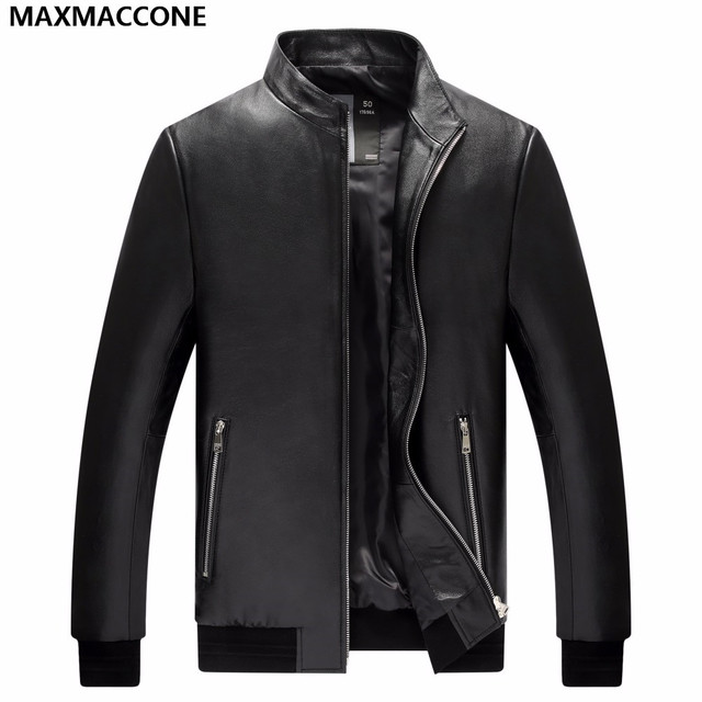 2018 Men Black Casual Leather Jacket Factory Direct Real Sheepskin ...