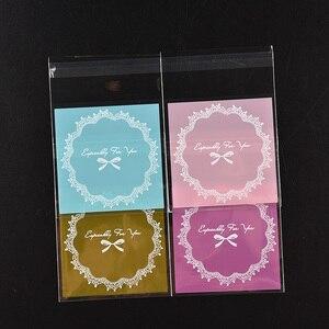 Heißer verkauf 100pcs/tasche Candy Pack papier OPP Kunststoff paket tasche Schöne Rosa oder Blau Bogen Design Kuchen geschenk Pakete